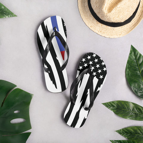 Image of Fallen Hero Thin Blue Line/Red Line Flag - Flip Flops