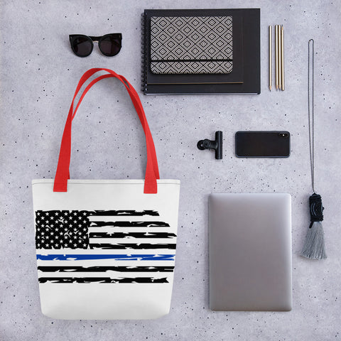 Fallen Hero Police Thin Blue Line Flag - Tote Bag