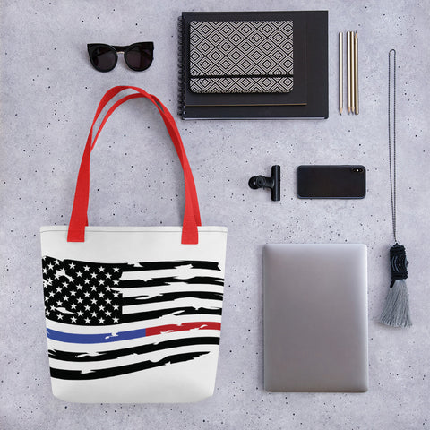 Image of Fallen Thin Blue Line Thin Red Line Distressed Flag Small Tote bag