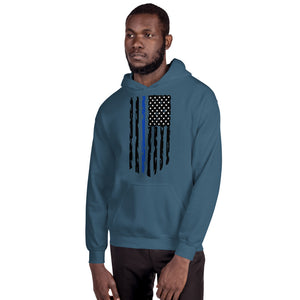 Fallen Officer Thin Blue Line Distressed Flag - Unisex Hoodie