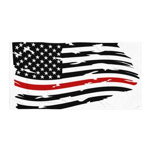 Fallen Hero Firefighter Thin Red Line Flag - Towel