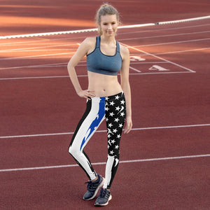 Fallen Hero Police Thin Blue Line Flag - Leggings