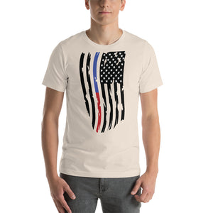 Fallen Hero Thin Blue Line/Red Line Flag - Short Sleeve Unisex
