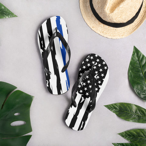 Image of Fallen Hero Police Thin Blue Line Flag - Flip Flops