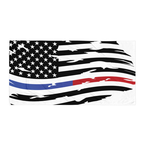 Image of Fallen Thin Blue Line Thin Red Line Distressed Flag Towel