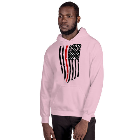 Image of Fallen Firefighter Thin Red Line Distressed Flag - Unisex Hoodie