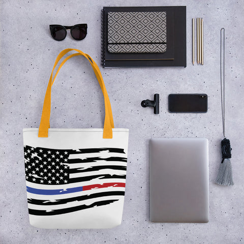 Fallen Thin Blue Line Thin Red Line Distressed Flag Small Tote bag