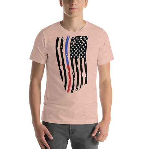 Image of Adult Thin Blue Line Thin Red Line Distressed Flag - Short-Sleeve Unisex T-Shirt