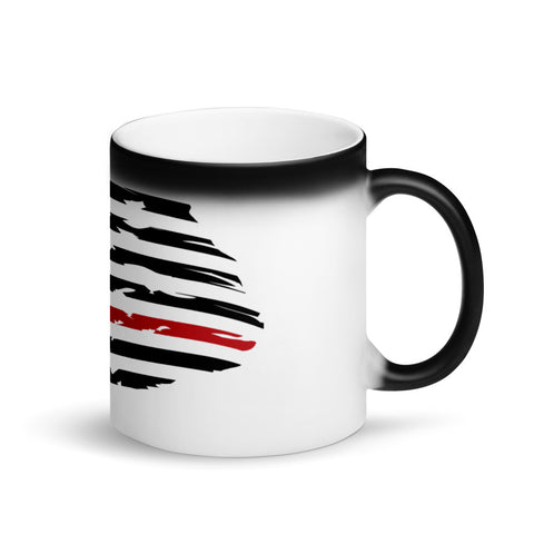 Image of Fallen Thin Blue Line Thin Red Line Distressed Flag - Matte Black Magic Mug