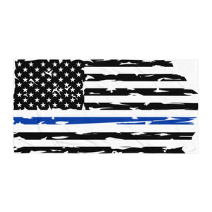Fallen Hero Police Thin Blue Line Flag - Towel