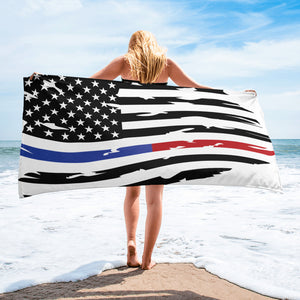 Fallen Thin Blue Line Thin Red Line Distressed Flag Towel