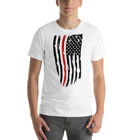 Fallen Hero Firefighter Thin Red Line Flag - Short Sleeve Unisex