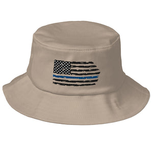 Fallen Hero Police Thin Blue Line Flag - Bucket Hat