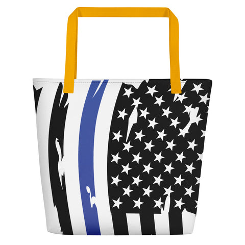 Image of Fallen Hero Thin Blue Line/Red Line Flag - Beach Bag