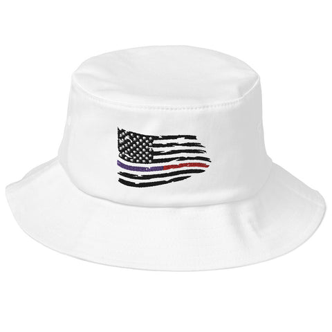 Image of Fallen Thin Blue Line Thin Red Line Distressed Flag Bucket Hat