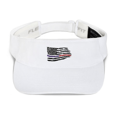 Image of Fallen Thin Blue Line Thin Red Line Distressed Flag Visor