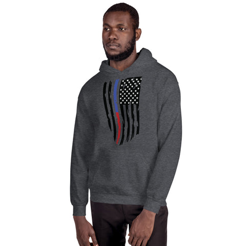 Image of Fallen Thin Blue Line Thin Red Line Distressed Flag - Unisex Hoodie