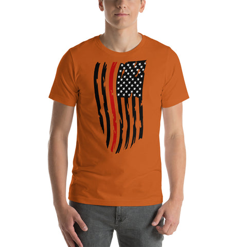 Thin Fallen Firefighter Thin Red Line Distressed Flag - Short-Sleeve Unisex T-Shirt