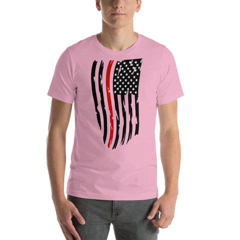 Image of Adult Fallen Firefighter Thin Red Line Distressed Flag - Short-Sleeve Unisex T-Shirt