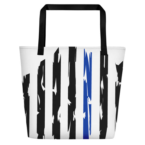 Fallen Hero Police Thin Blue Line Flag - Beach Bag
