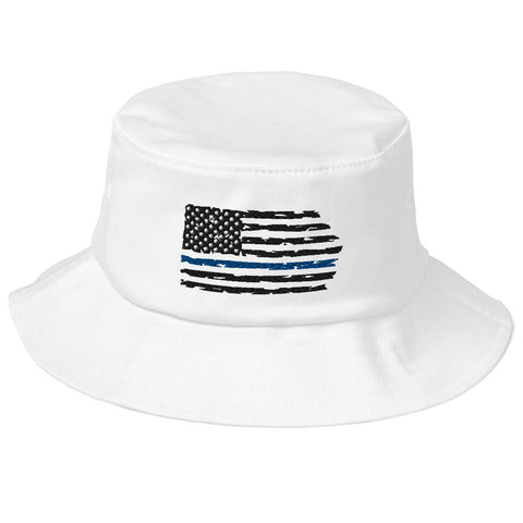 Image of Fallen Hero Police Thin Blue Line Flag - Bucket Hat