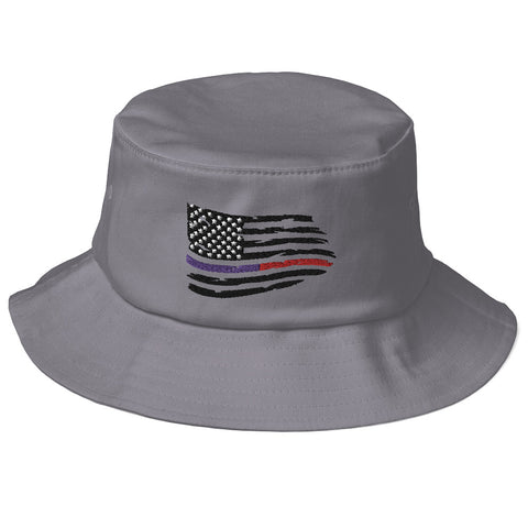 Fallen Hero Thin Blue Line/Red Line Flag - Bucket Hat