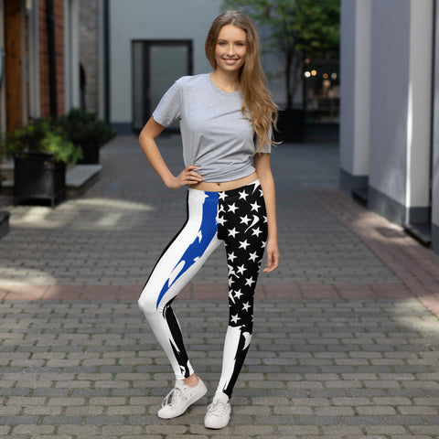 Image of Fallen Hero Police Thin Blue Line Flag - Leggings