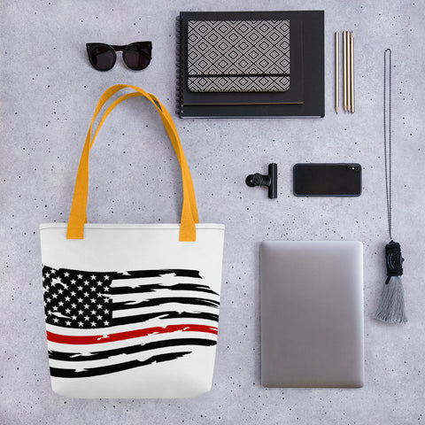 Fallen Hero Firefighter Thin Red Line Flag - Tote bag