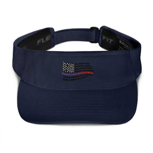Fallen Thin Blue Line Thin Red Line Distressed Flag Visor