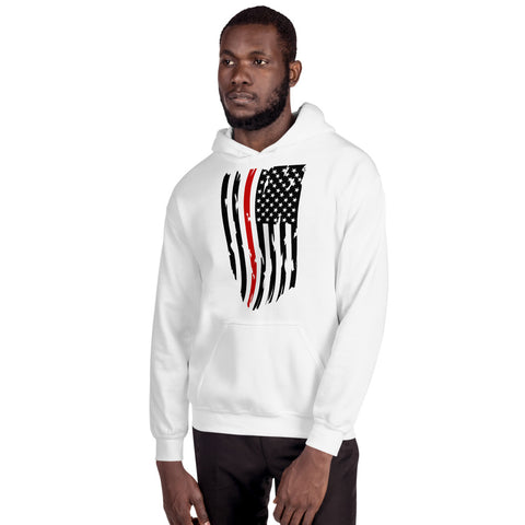 Image of Fallen Hero Firefighter Thin Red Line Flag - Unisex Hoodie