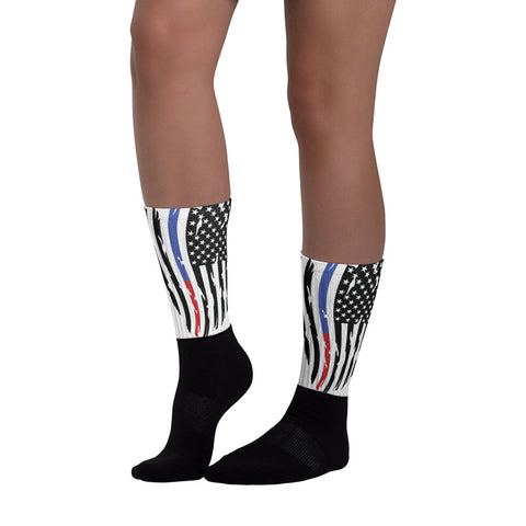 Image of Fallen Thin Blue Line Thin Red Line Distressed Flag Socks