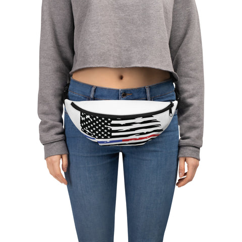 Fallen Thin Blue Line Thin Red Line Distressed Flag Fanny Pack