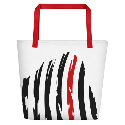 Image of Fallen Hero Firefighter Thin Red Line Flag - Beach Bag