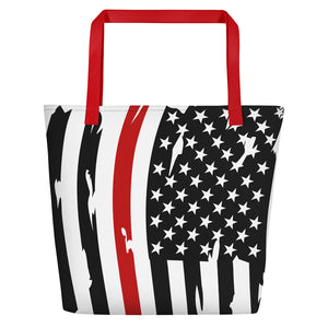 Fallen Hero Firefighter Thin Red Line Flag - Beach Bag