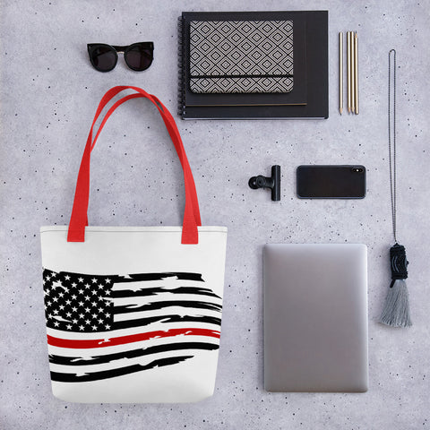 Image of Fallen Hero Firefighter Thin Red Line Flag - Tote bag