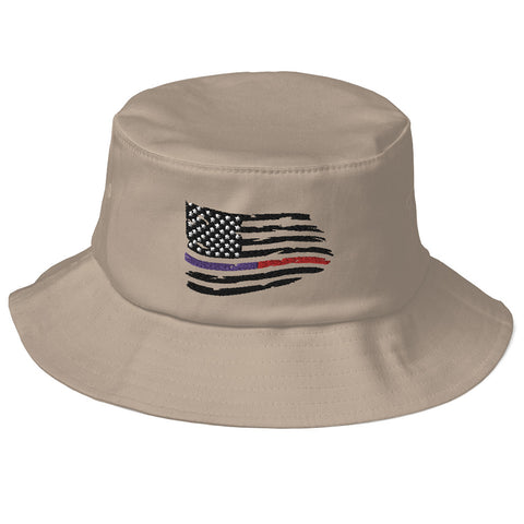 Fallen Thin Blue Line Thin Red Line Distressed Flag Bucket Hat