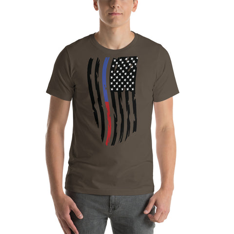Adult Thin Blue Line Thin Red Line Distressed Flag - Short-Sleeve Unisex T-Shirt