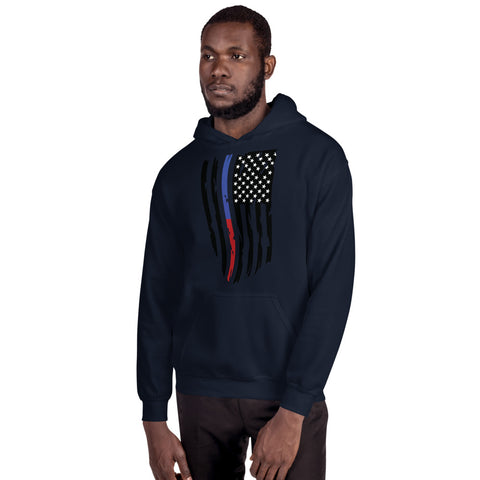 Fallen Thin Blue Line Thin Red Line Distressed Flag - Unisex Hoodie