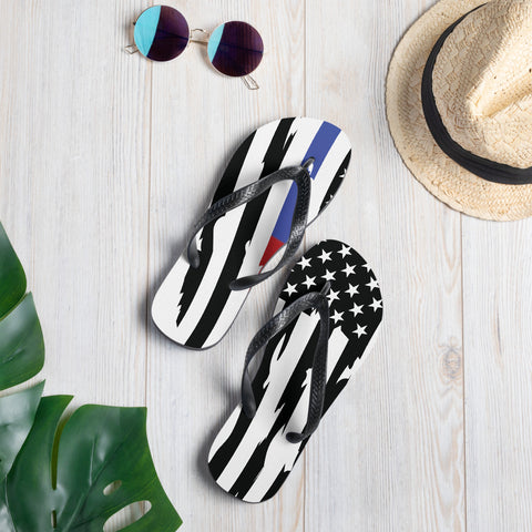 Fallen Thin Blue Line Thin Red Line Distressed Flag Flip-Flops