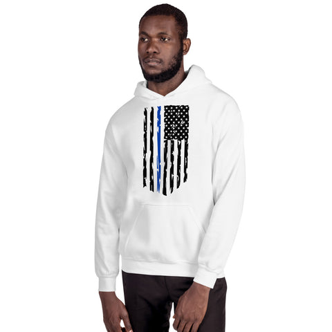 Image of Fallen Officer Thin Blue Line Distressed Flag - Unisex Hoodie