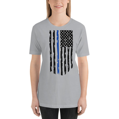 Image of Fallen Hero Police Thin Blue Line Flag - Short Sleeve Unisex