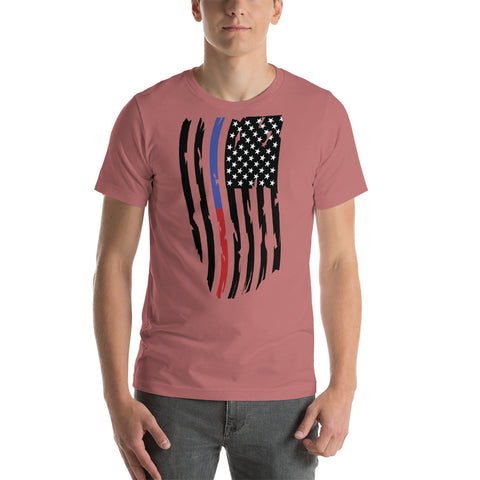 Fallen Thin Blue Line Thin Red Line Distressed Flag - Short-Sleeve Unisex T-Shirt