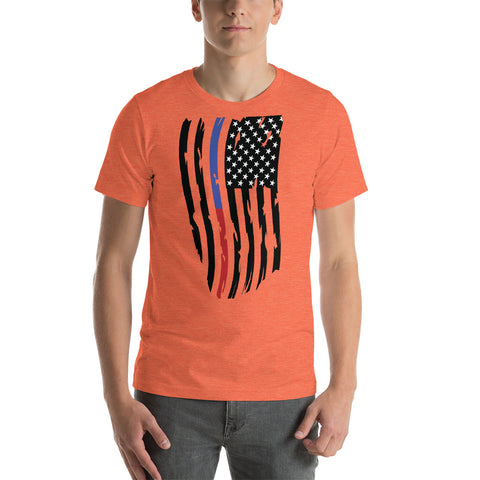 Image of Fallen Thin Blue Line Thin Red Line Distressed Flag - Short-Sleeve Unisex T-Shirt