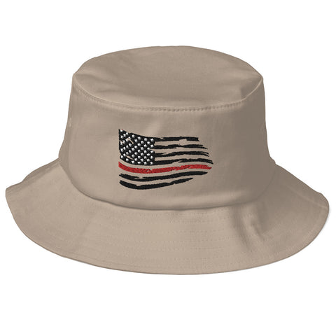 Image of Fallen Hero Firefighter Thin Red Line Flag - Bucket Hat
