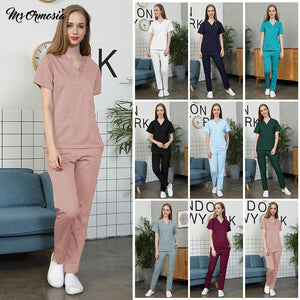 Short-sleeved women's nursing uniform work top scrub beauty salon work clothes dental care work clothes cotton breathable suit