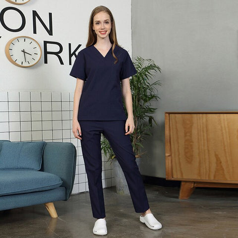 Image of Short-sleeved women's nursing uniform work top scrub beauty salon work clothes dental care work clothes cotton breathable suit