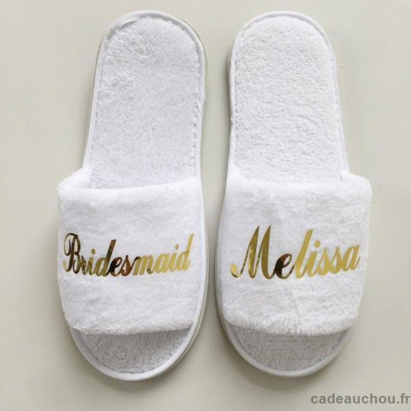 pantoufles personalisee prenom mariage chaussons