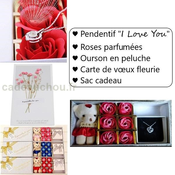 "Coffret Collier ""I Love You"" (Peluche+Carte offerte)"