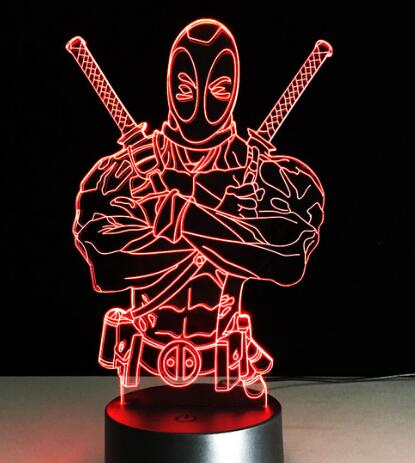 Veilleuse Lampe LED Tactile  cadeau fan Avengers deadpool
