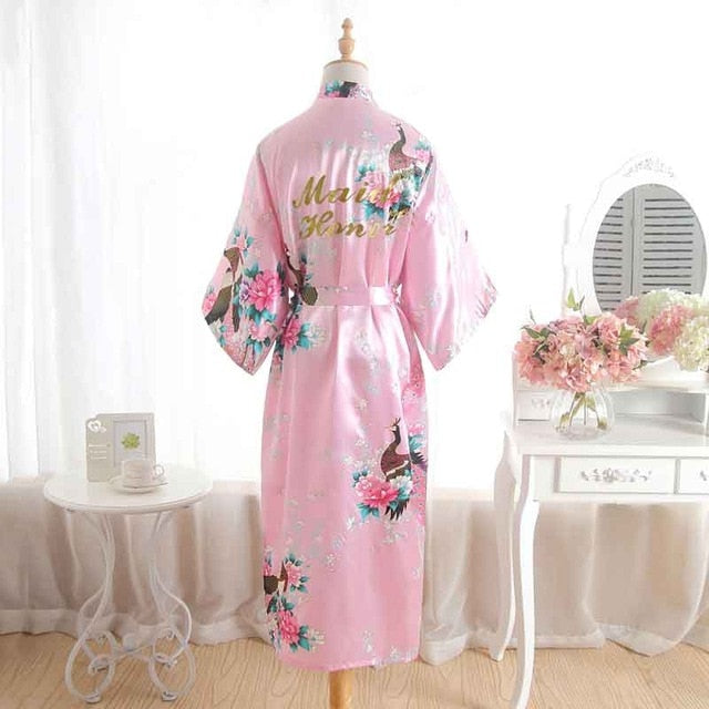 kimono demoiselle d'honneur peignoir satin marié floral preparation mariage maid of honor rose